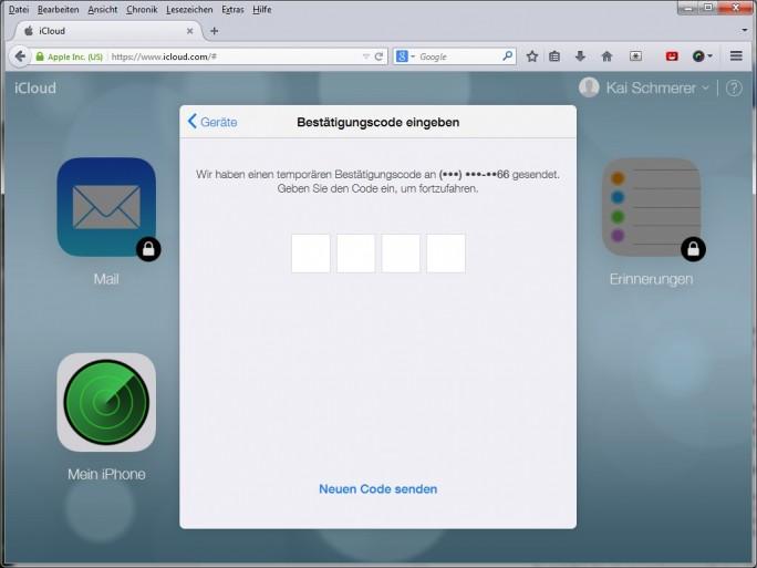 Zweistufige Anmeldung bei der iCloud (Screenshot: ZDNet.de)