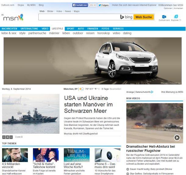Zum Vergleich: Die aktuelle Ansicht von MSN in Deutschland (Screenshot: ITespresso).