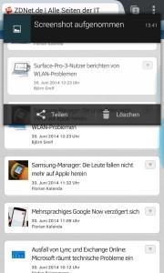Android 5.0 Lollipop: Benachrichtigungsanzeige mit Interaktionsmöglichkeit (Bild: ZDNet.de)
