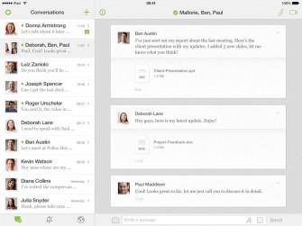 Die zentrale Konversationsansicht von Circuit auf dem iPad (Screenshot: Unify).