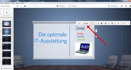 Textelemente in den Rahmen lassen sich leicht formatieren (roter Pfeil).