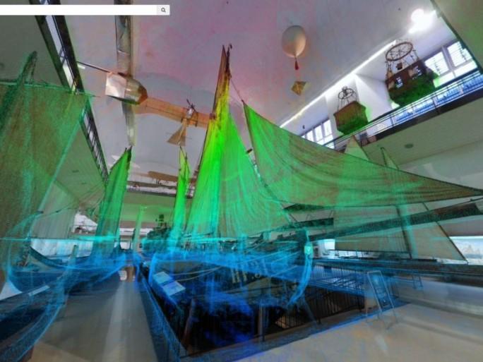 Durch die Laservermessung bei der Kartierung der Abteilung Schiffahrt des Deutschen Museums entstandene Punktwolke (Bild: NavVis).