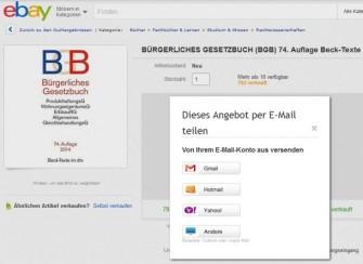 Bei Nutzung der Empfehlungsfunktion von Ebay erscheint der Händler des Angebots weder als Absender, noch im Betreff oder im Inhalt der E-Mail (Screenshot: ITespresso).