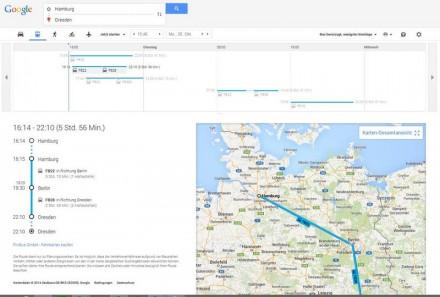 Nutzer können auf Google Maps sehen, wann der nächste Fernbus abfährt und wie lange die Fahrt dauert (Screenshot: Flixbus/Google Maps)
