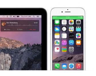 Die neuen Integrationsfunktionen von OS X 10.10 Yosemite erlauben es, auf einem Mac Anrufe anzunehmen (Bild: Apple).