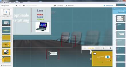 Prezi bei der Arbeit: Auf der linken Seite sind die Rahmen aufgelistet, rechts warten Powerpoint-Folien darauf, eingefügt zu werden.