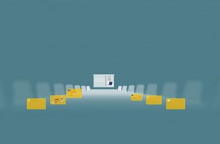 Leinwand statt Folie: Auf der großen Arbeitsfläche werden die verschiedenen Bild- und Textelemente platziert.