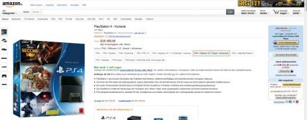 PS4 bei Amazon mit Spielepaketen für 399 Euro (Screenshot: ITespresso).