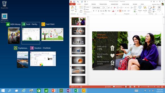 Snap Assist soll Nutzern in Windows 10 helfen, Apps horizontal oder vertikal anzuordnen (Screenshot: Microsoft).