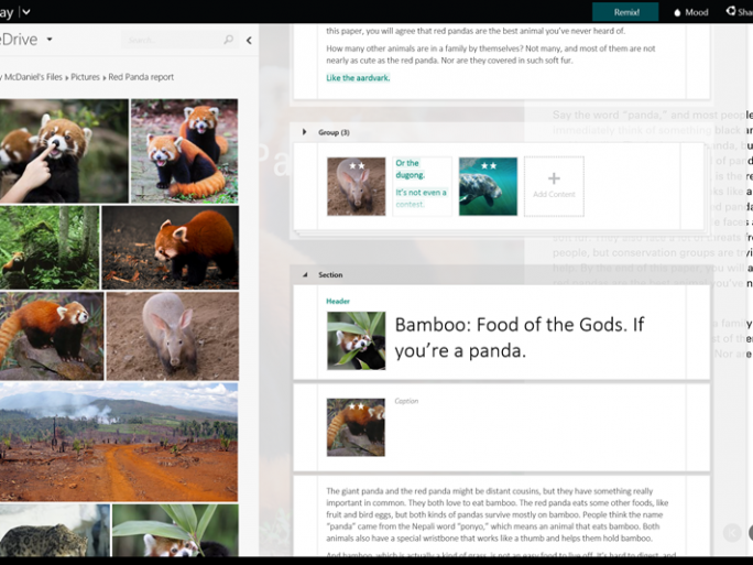 Sway integriert OneDrive zum direkten Zugriff auf in der Cloud gespeicherte Bilder (Bild: Microsoft).