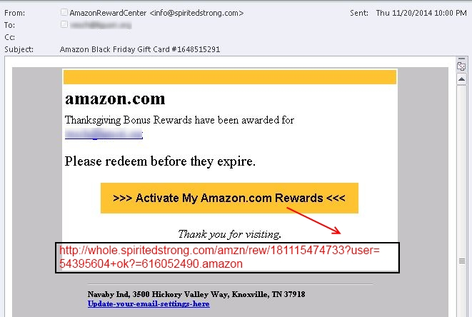Amazon_Voucher_Thanksgiving (Screenshot: Websense)