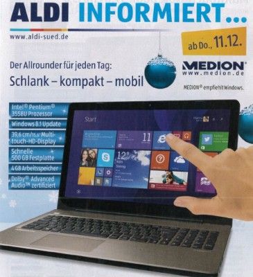 Ab 11.  und nicht wie zuerst berichtet ab 4.Dezember bei Aldi im Angebot: Das Toch-Notebook Medion Akoya E6412T (Bild: Aldi Süd).