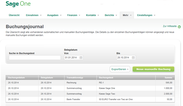 Das Buchungsjournal präsentiert alle automatischen und manuellen Buchungseinträge.