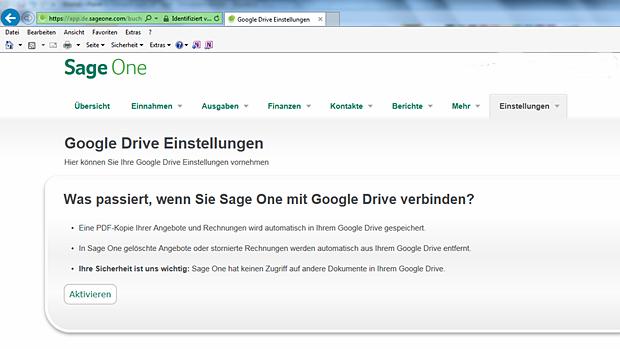 Daten wie Rechnungen oder Angebote werden mit Google Drive synchronisiert.