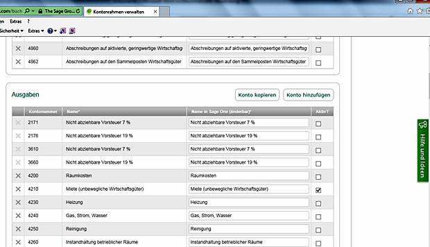 Kontenrahmen: Sage One bietet eine Vielzahl von bereits nach Kategorien sortierten Konten.