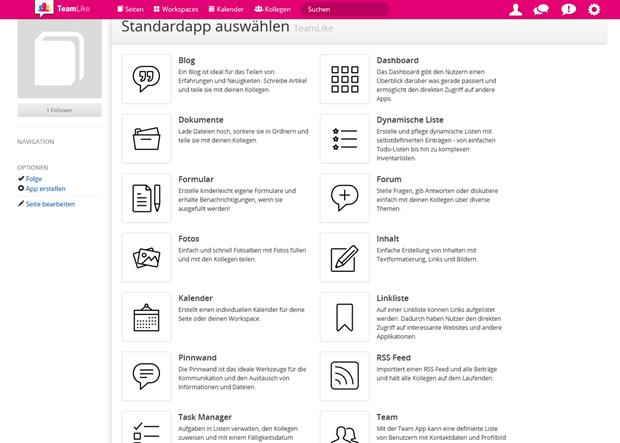 Aus einer Fülle von Möglichkeiten wie Blogs, Umfragen, Task-Manager, Foren, etc. kann man Workspaces und Co. gestalten.