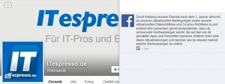 Die Benachrichtigung zu Facebooks Nutzungsbedingungen (Screenshot: ITespresso)