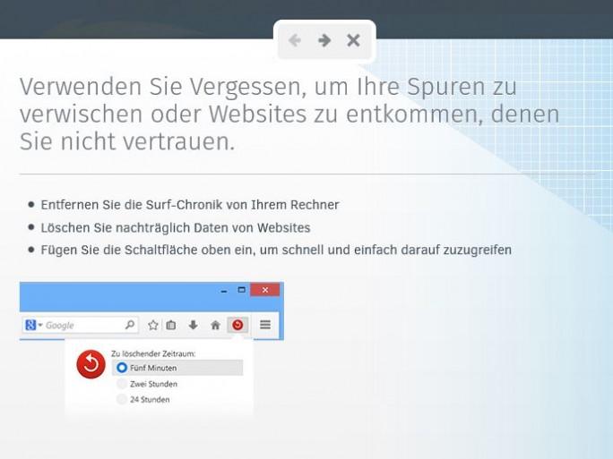 Mit dem Vergessen-Button lässt sich der Browserverlauf eines vorgegebenen Zeitraums unkompliziert löschen (Bild: Mozilla).