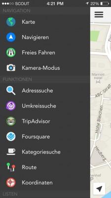 Navigation mit der Übersicht übe die verfügbaren Funktionen in der Navigations-App Scout auf einem iOS-Smartphone (Bild: Telenav).