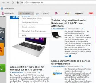 """Praktisch: Der Button """"Sicherheit"""" führt Nutzer schnell zu relevanten Einstellungen und einem Schnell-Check der Anschlusssicherheit (Screenshot: ITespresso)."""