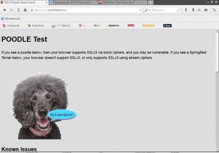 Nicht so praktisch: Beim Browser 7 der Deutschen Telekom ist SSL 3.0 standardmäßig aktiviert - was eine gravierende Sicherheitslücke darstellt (Screenshot: ITespresso).