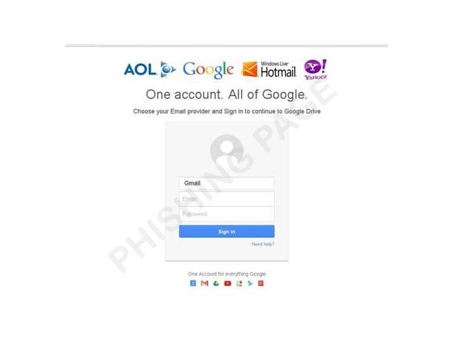 Gefälschte Google-Drive-Startseite (Bild: Trend Micro)