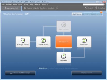 Lexware Financial Office: Die sinnvolle graphische Anordnung der Funktionen verdeutlicht den typischen Prozessablauf (Screenshot: ITespresso).