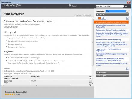 Lexware Financial Office: Wie bucht man Gutscheine korrekt? Das Lexware-Portal gibt Auskunft (Screenshot: ITespresso).