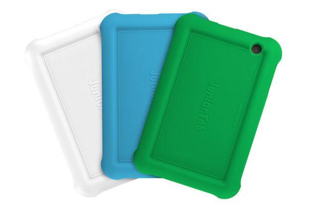 Das Medion Junior Tab kommt in drei Farben (Weiß, Scharz, Titan) und mit drei farbigen Bumpern (Weiß, Blau, Grün) bei Aldi in den Handel (Bild: Medion).