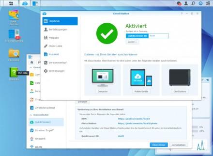 Disk Station Manager: Das NAS-Betriebssystem von Synology unterstützt das Setup einer privaten Cloud fast auf Knopfdruck (Screenshot: Christian Lanzerath)