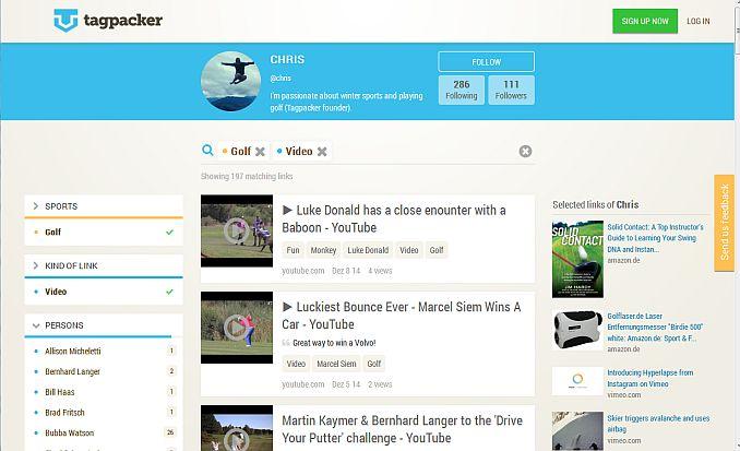 Tagpacker Golfthemen (Screen:Tagpacker)