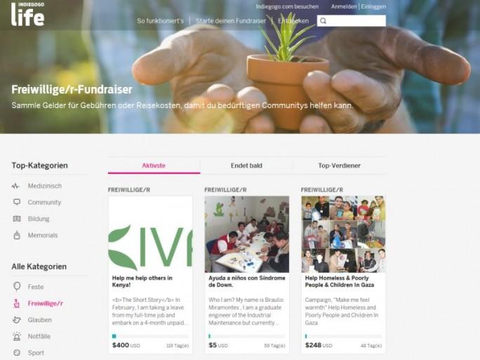Website von Indiegogo Life (Screenshot: ITespresso)