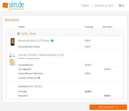 Bei SIM.de gibt es das Motorola Moto G bei Abschluss eines Zweijahresvertrag ohne Zusatzkosten (Screenshot: ITespresso).