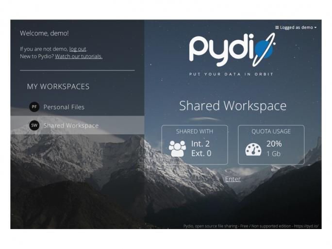 Startseite von Pydio (Bild: Pydio)