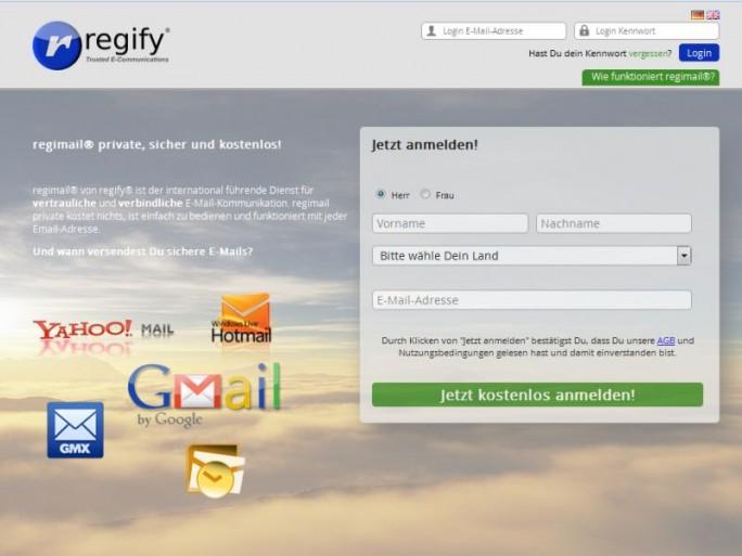 Anmeldung für Regimail Free (Screenshot: ITespresso)