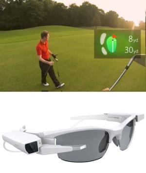 Ein beispielhaftes Sichtfeld und eine Brille mit dem Display-Modul SmartEyeglass Attach von Sony  (Bild: Sony)