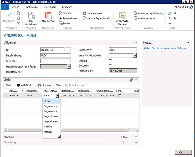 Microsoft Dynamics NAV ermittelt anhand der gewählten Abschreibungsmethode und Nutzungsdauer die jährliche Abschreibung und den Restbuchwert. Diese werden in der Anlagenübersicht automatisch aktualisiert.