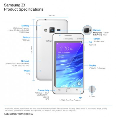 Samsung-Z1-Product-Specifications (Bild: Samsung)