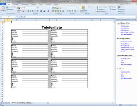 Spreadsheet, die Tabellenkalkulation im Bürosoftwarepaket Office Perfect X5 von Bhv Software (Screenshot: Bhv Software)