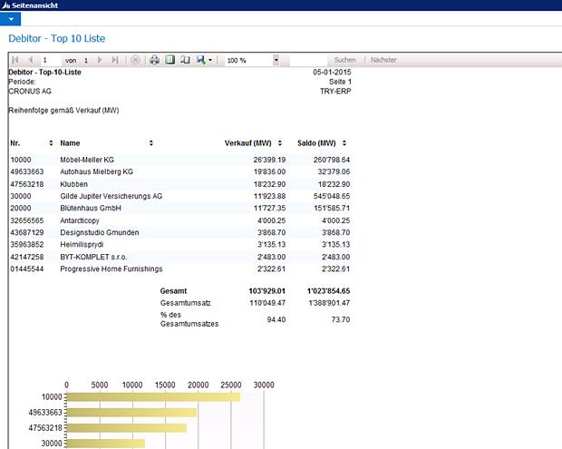Die Software bietet eine Vielzahl von Berichten und Statistiken an, unter anderem ein Ranking der Top 10 Debitoren, inklusive Verkaufszahlen und Saldo.