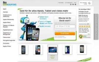 Website des Ankaufsportals Wirkaufens.de (Screenshot: ITespresso)