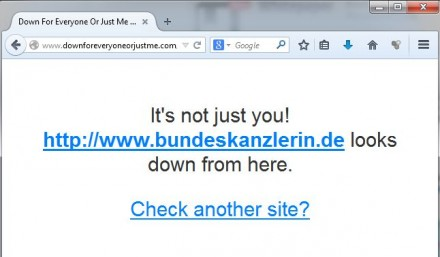 "Der Dienst ""Down for everyone or just me"" bestätigt den Erfolg des Angriff der gruppe CyberBerkut (Screenshot: ITespresso)."