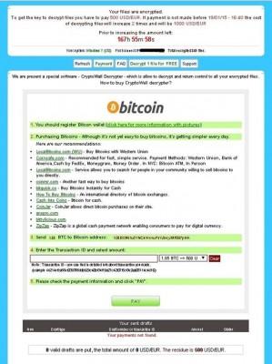 Die Hintermänner der Ransomware Cryptowall verlangen mindestens 500 Dollar Lösegeld für die Entschlüsselung von Dateien (Screenshot: Microsoft).
