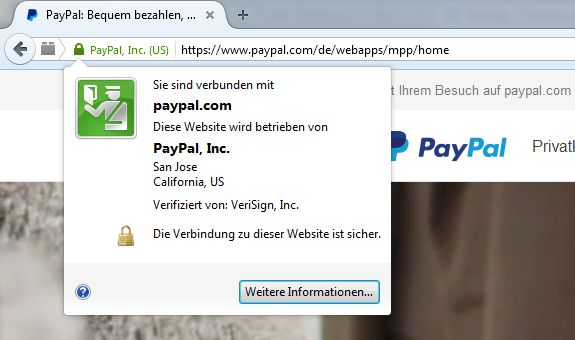 Die echte Paypal-Website mit dem am grünen Schlosssysmbol erkennbaren EV SSL-Zertifikat und den nach einem Klick darauf angezeigten Zertifikatsinhalten (Screenshot: ITespresso).