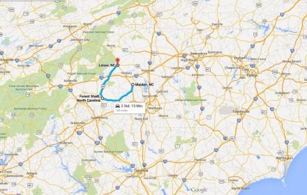 Die Rechennzentren von Apple in Maiden, Google in Lenoir und  Facebook in Forest City lassen sich mit dem Auto in rund zwei Studnen abklappern - Blizzard Juno wird es deutlich schneller schaffen (Screnshot: ITespresso bei Google Maps).