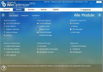 Winoptimizer2015 Haupt-Screen (Bild: Ashampoo)