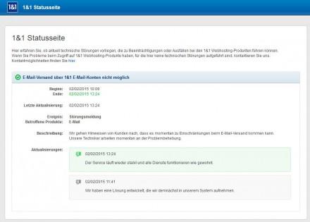 Kunden von 1&1 mussten heute rund drei Stunden lang ohne Mail-Versand auskommen (Screenshot: ITespresso)
