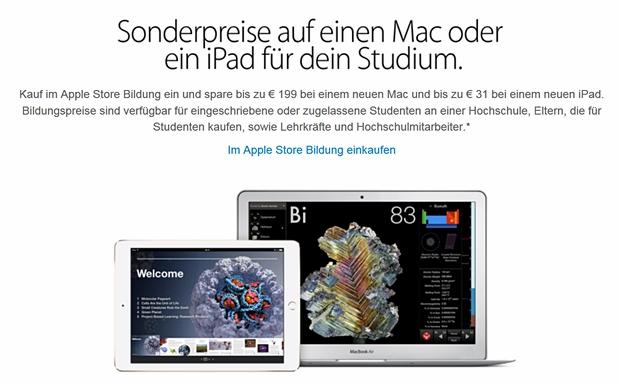 Apple räumt Studenten etwas günstigere Konditionen für das iPad ein (Screenshot: Mehmet Toprak).