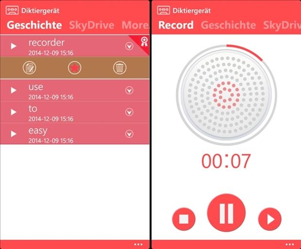 Diktiergerät (Screenshot: Mehmet Toprak)
