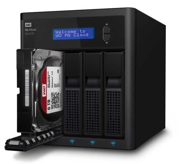Das leere Gehäuse WD MyCloud EX4100 ist für 429 Euro erhältlich, samt Festplatten mit 8, 16 respektive 24 TByte Speicherkapazität kostet es 859, 1200 beziehungsweise 1730 Euro (Bild: Western Digital).